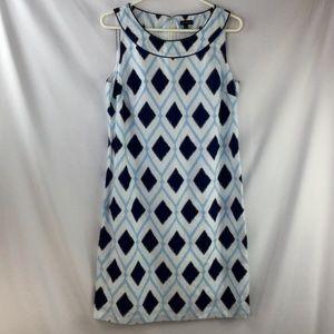 Talbots Womens Linen Blend Dress Size 8 Blue White